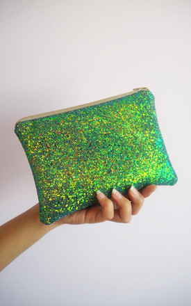 Glitter Mini Clutch Bag In Mermaid Green by Suki Sabur Designs Product photo