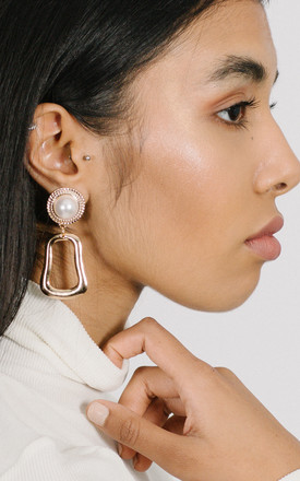 Gold door knocker large statement earrings with pearl by OBNOXIOUS