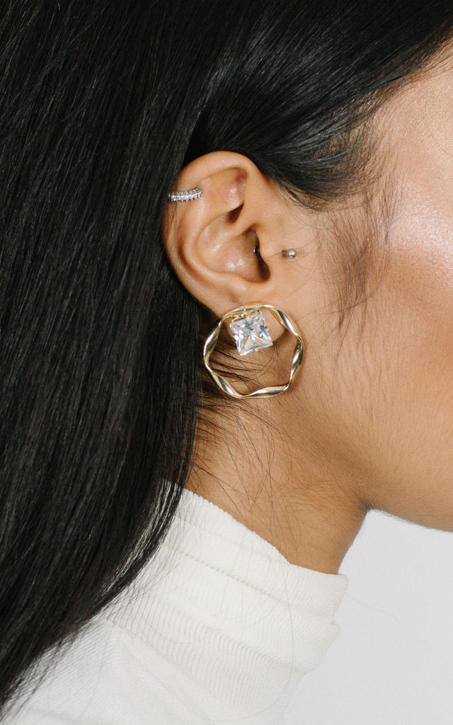 Crystal stud statement earrings with gold hoop detail by OBNOXIOUS