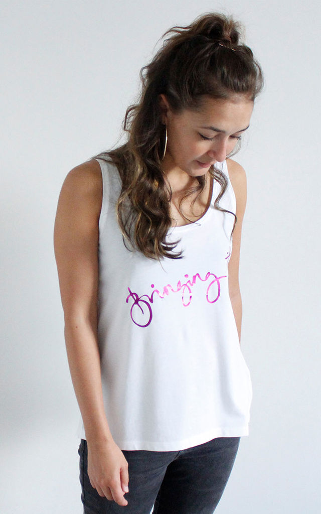 'Bringing It' (Pink) Relaxed Fit Organic Cotton Slogan Vest Top by Lawrenson
