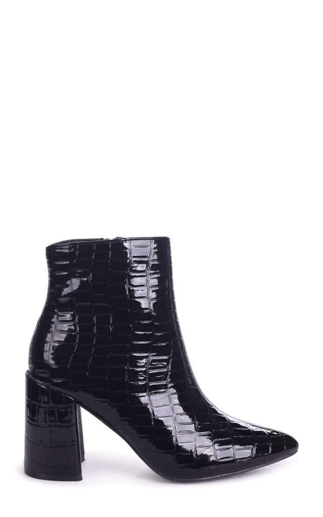 Alice Black Croc Patent Block Heeled Boot With Pointed Toe by Linzi