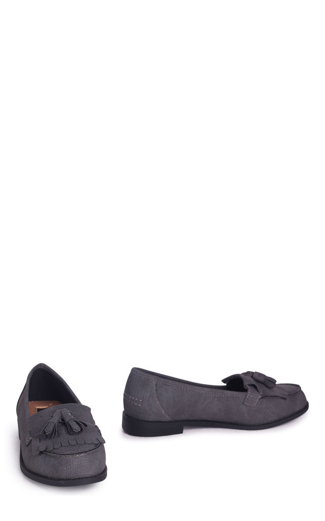 Rosemary Faux Leather Loafers in Grey Lizard by Linzi