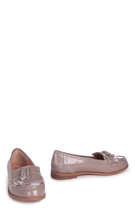 Rosemary Faux Leather Loafers in Concrete Grey Patent by Linzi