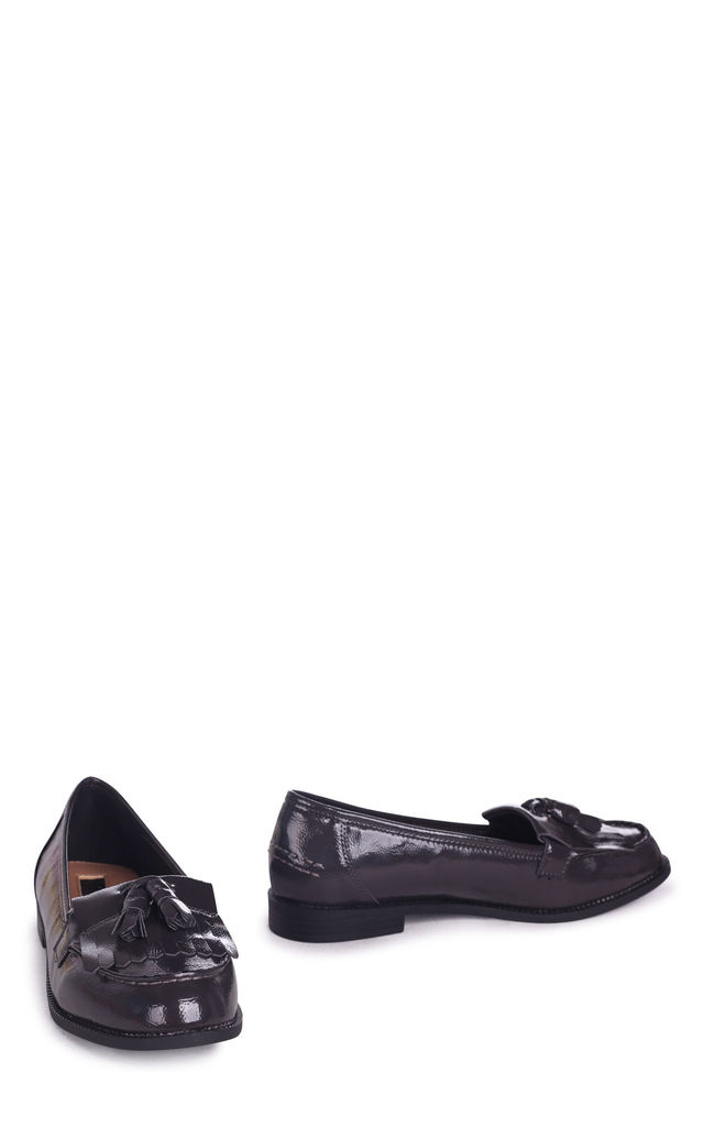 Rosemary Grey Faux Patent Leather Classic Slip On Loafer by Linzi