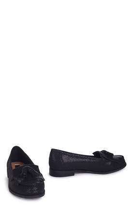 Rosemary Loafers in Black Textured Spot by Linzi