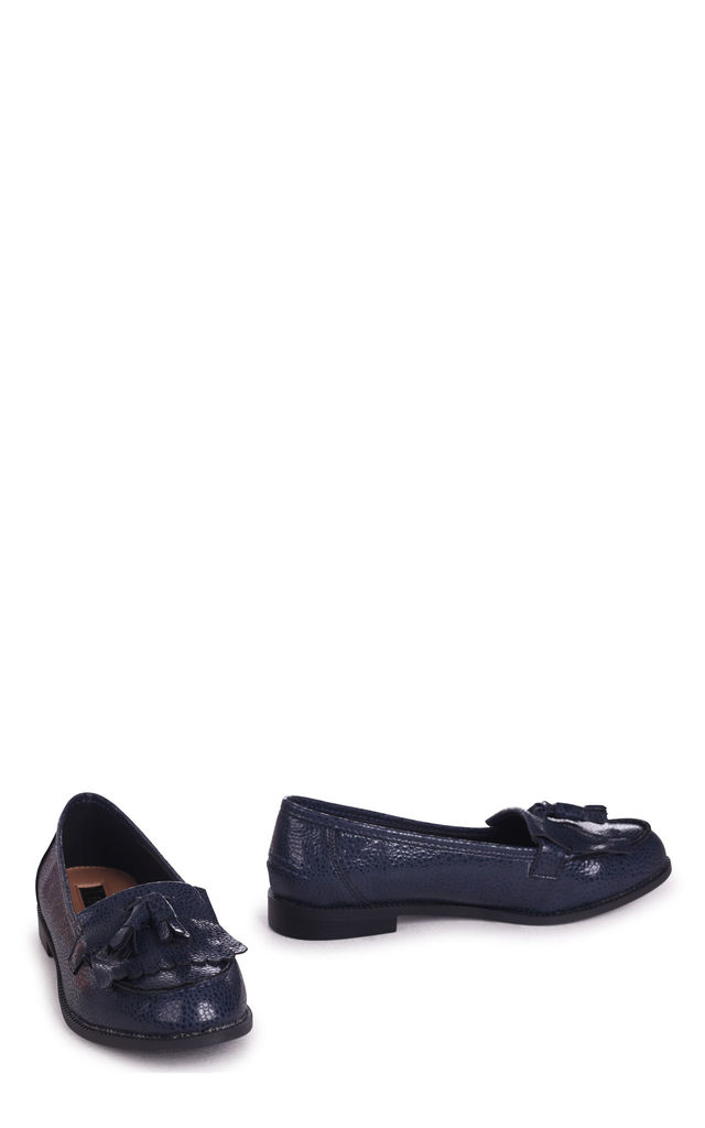 Rosemary Navy Spotted Textured Pattern Classic Slip On Loafer by Linzi
