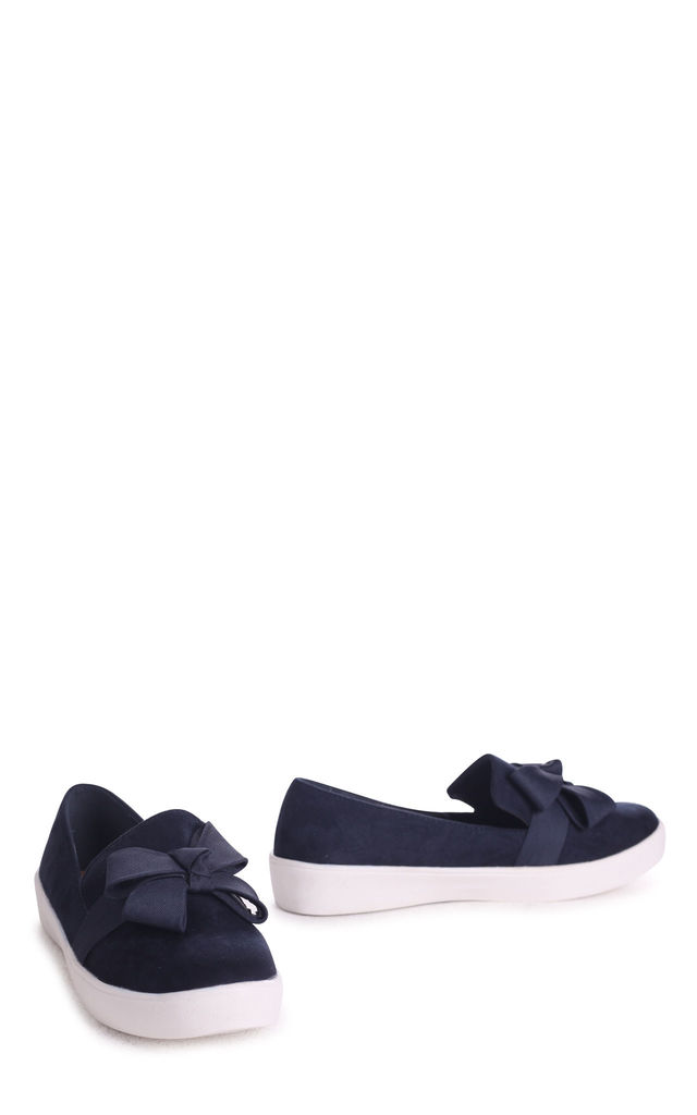 Chic Navy Suede Classic Slip On Skater with Organza Bow Front Detail by Linzi