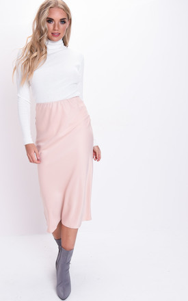 Silky Satin Midi Slip Skirt Nude Pink by LILY LULU FASHION