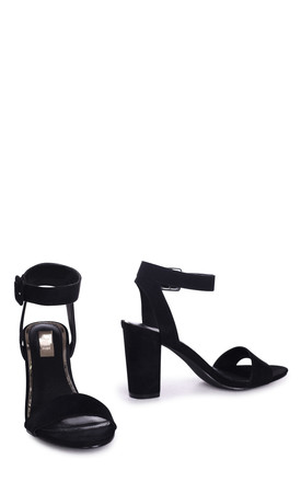 Millie Black Suede Open Toe Block Heel With Ankle Strap And Buckle Detail by Linzi
