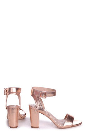Millie Rose Gold Nappa Open Toe Block Heel With Ankle Strap And Buckle Detail by Linzi