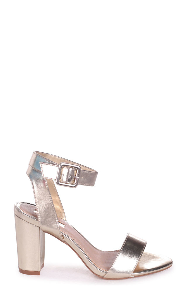 Millie Gold Nappa Open Toe Block Heel With Ankle Strap And Buckle Detail by Linzi