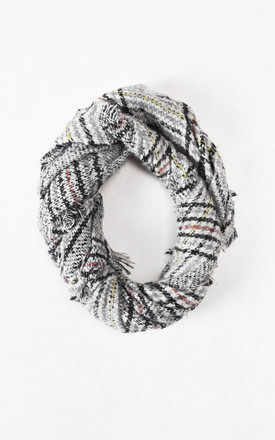 Checked Fringe Hem Wool Scarf Grey by LILY LULU FASHION