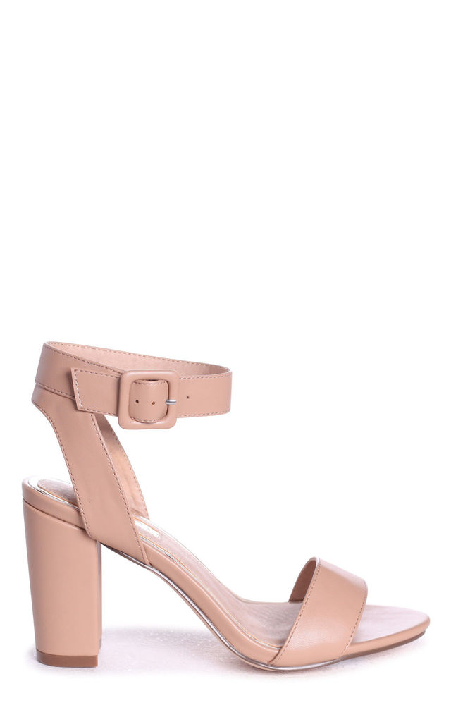 Millie Mocha Nappa Open Toe Block Heel With Ankle Strap And Buckle Detail by Linzi