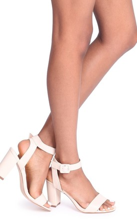 Millie Beige Nappa Open Toe Block Heel With Ankle Strap Sandals And Buckle Detail by Linzi