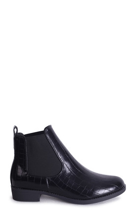 Aida Black Croc Nappa Classic Chelsea Boot With Elasticated Side Panels by Linzi