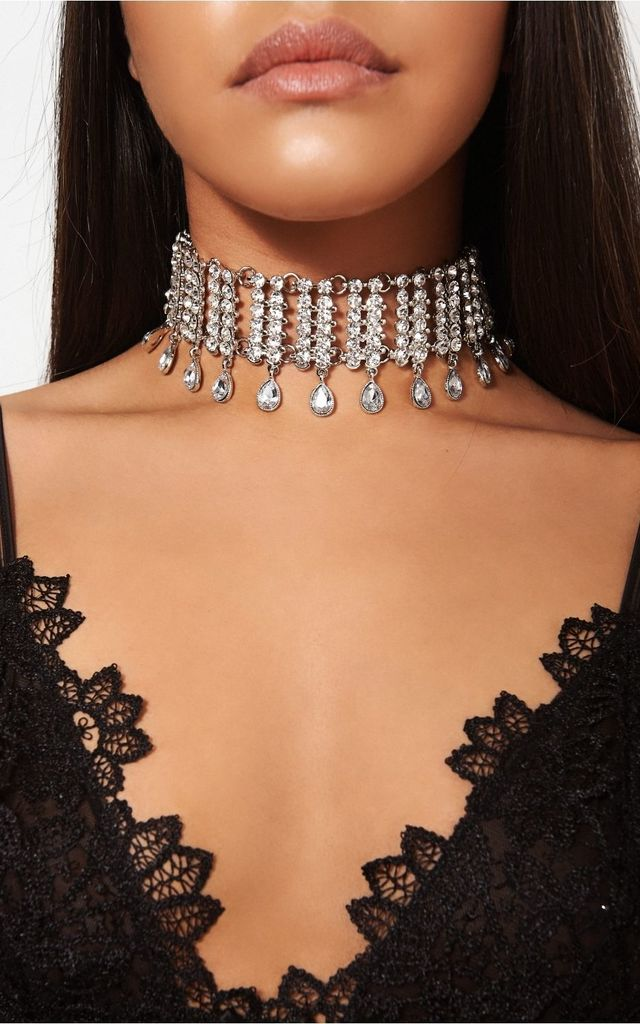Chanel Silver Diamante Choker by The Fashion Bible