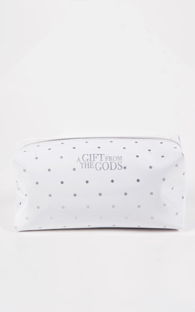Polka Dot White Square Make-up Bag by A Gift From The Gods