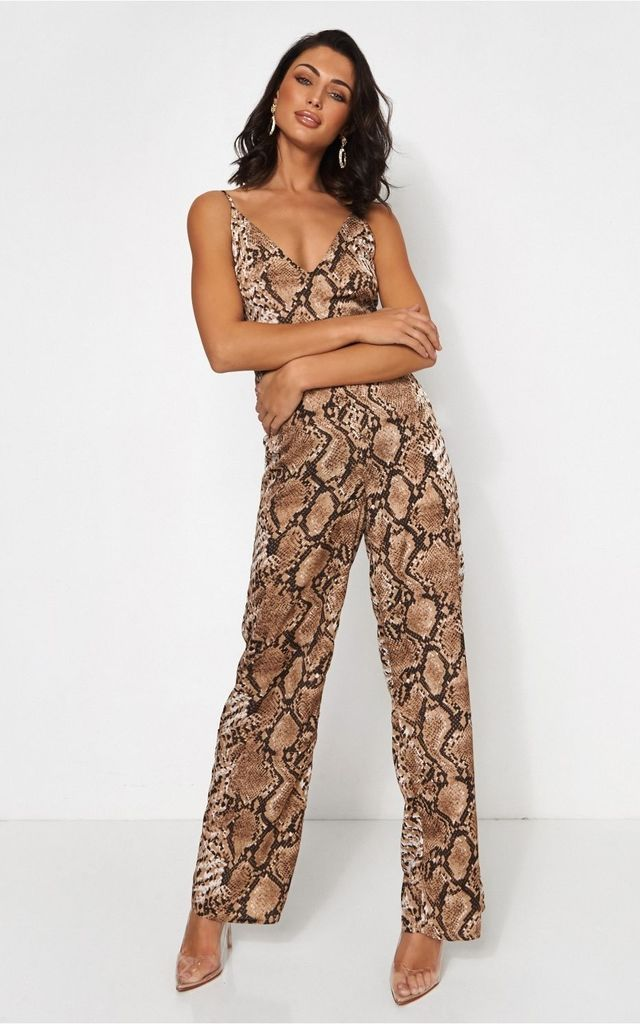 Tiana Snake Print Wide Leg Jumpsuit by The Fashion Bible