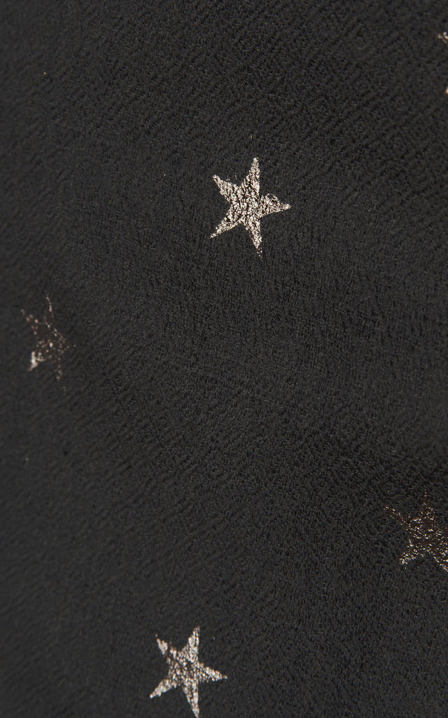 Cashmere Silver Metallic Star Pashmina in Black by Ocean Ray