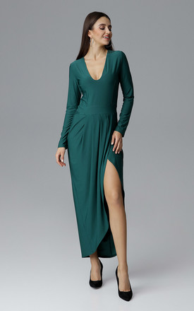 Green Long Dress With a Slit by FIGL