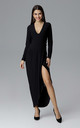 Black Long Dress With a Slit by FIGL