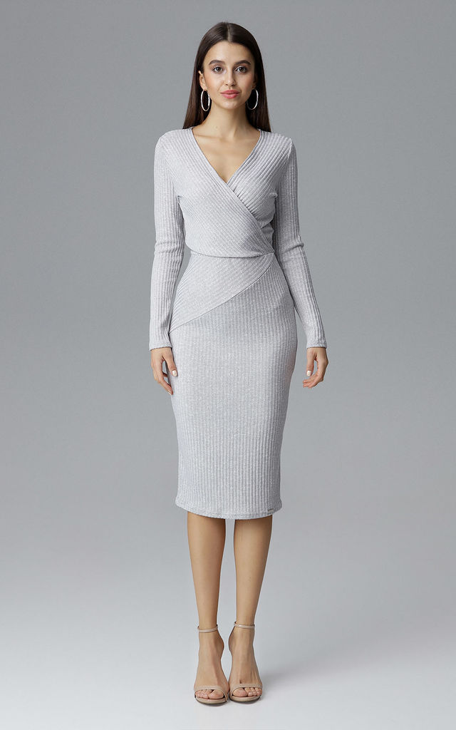 26eebed9c099 Grey Fitted Midi Dress With Long Sleeves by FIGL