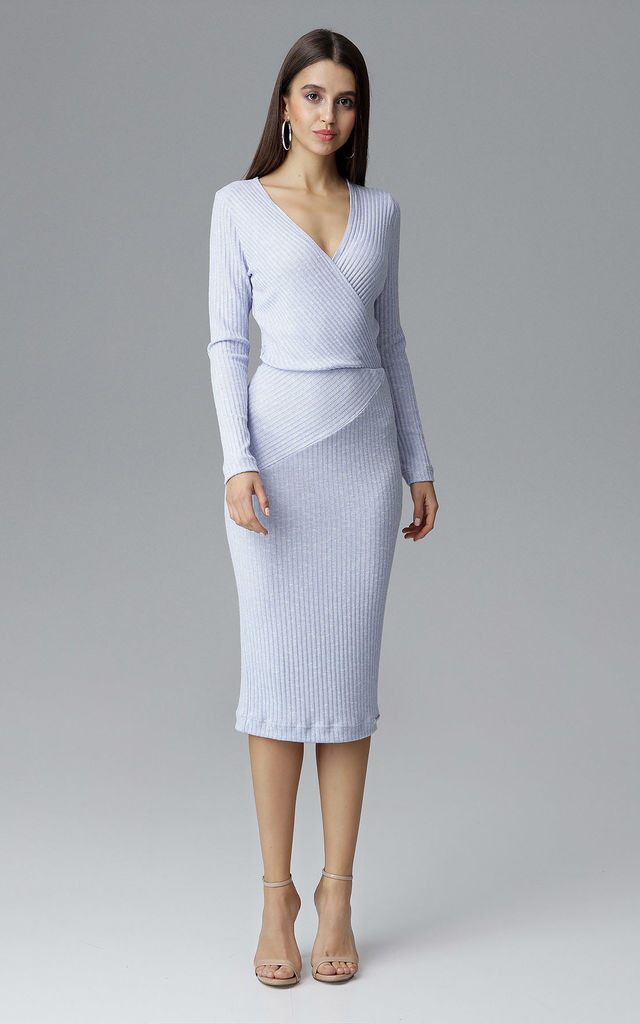 Light Blue Fitted Midi Dress With Long Sleeves | FIGL ...