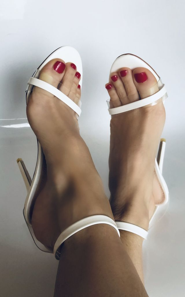 Isa Perspex Barely There Strappy Heels in White Patent by Poised London