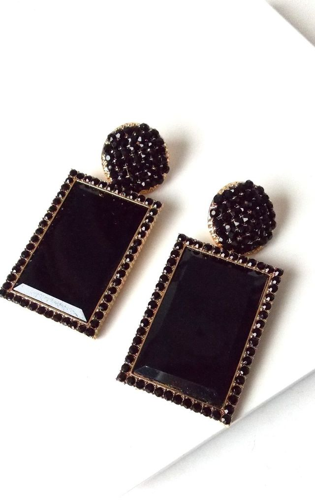 Over-Sized Black Rectangle Jewelled Drop Earrings by Olivia Divine Jewellery