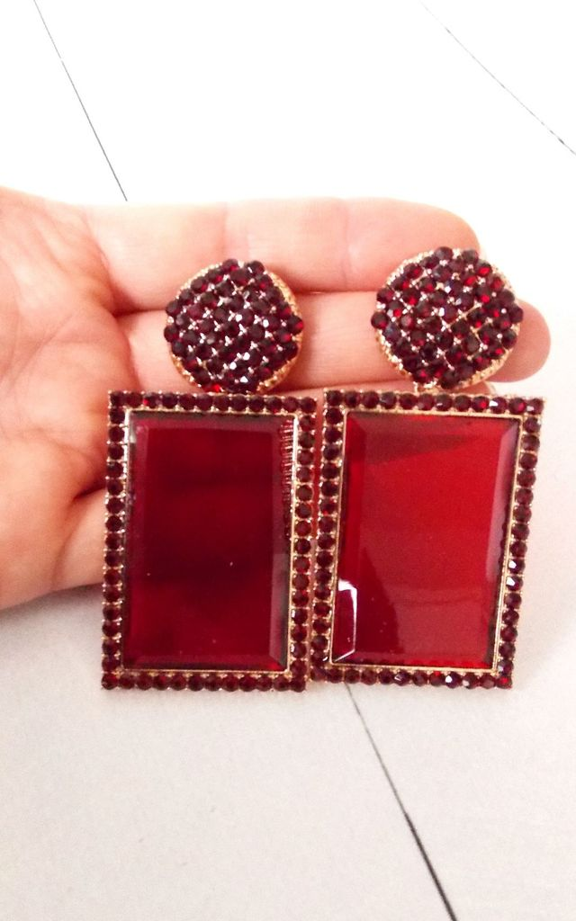 Red Acrylic Jewelled Rectangle Earrings by Olivia Divine Jewellery