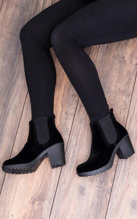 YAEL Cleated Sole Block Heel Chelsea Ankle Boots Shoes - Black Suede Style by SpyLoveBuy
