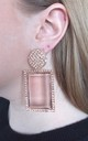 Rose Gold Acrylic Jewelled Rectangle Earrings by Olivia Divine Jewellery