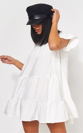 Luca Petite White Frill Smock Dress by The Fashion Bible Product photo