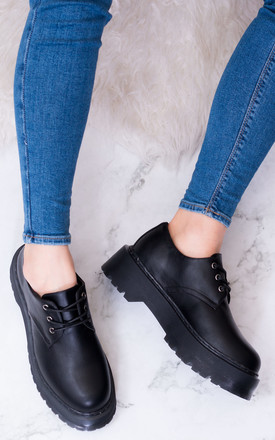 SICILY Extra Chunky Platform Lace Up Shoes - Black Leather Style by SpyLoveBuy