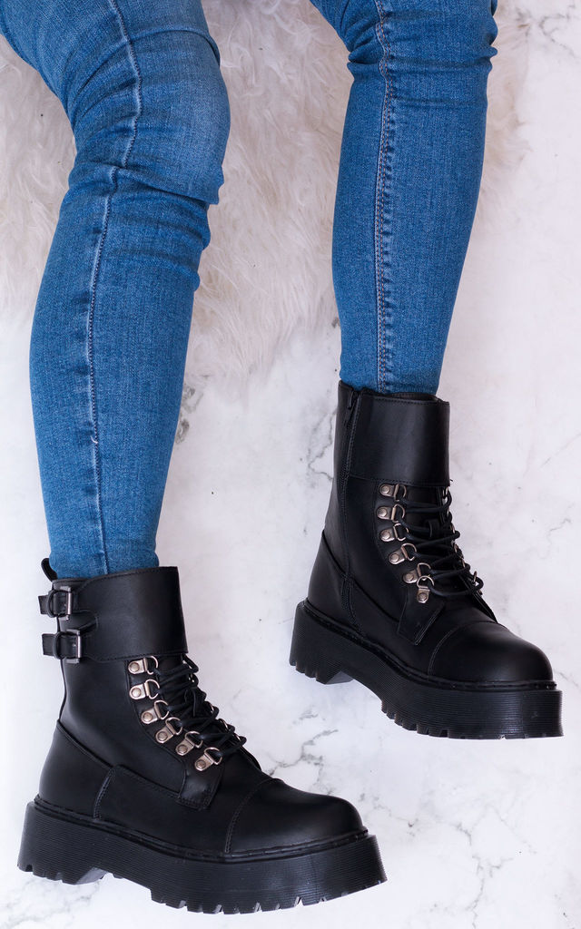 043d7a27253 Oxigenate Extra Chunky Platform Lace Up Combat Boots Black Leather Style By  SpyLoveBuy