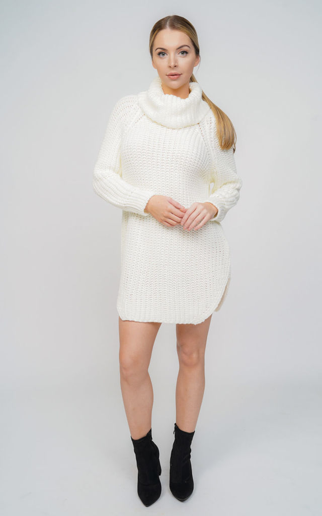 aff8b7c3705 Oversized Cream Chunky Knit Roll Neck Jumper Dress | Aftershock London |  SilkFred