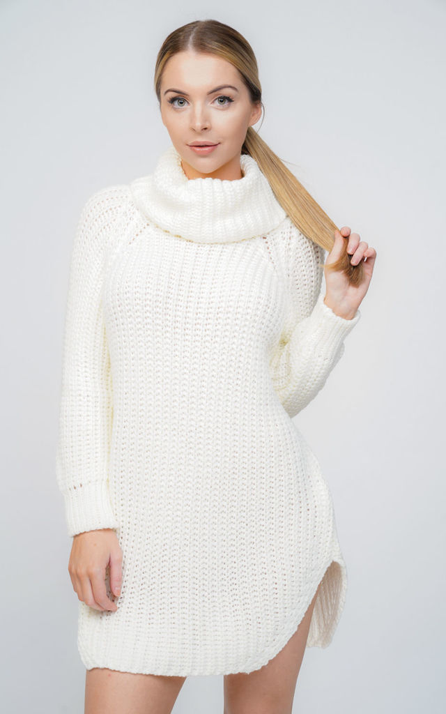 f23ea866fbb Oversized Cream Chunky Knit Roll Neck Jumper Dress by Aftershock London