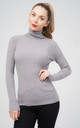 Oversized Grey Ribbed Roll Neck Jumper by Aftershock London