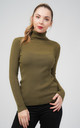 Oversized Khaki Ribbed Roll Neck Jumper by Aftershock London