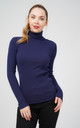 Oversized Navy Ribbed Roll Neck Jumper by Aftershock London