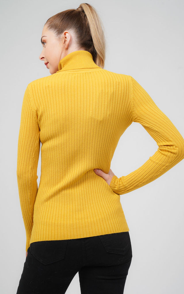 Oversized Yellow Ribbed Roll Neck Jumper by Aftershock London