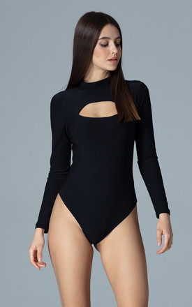 High Neck Bodysuit with Cut Out in Black by FIGL