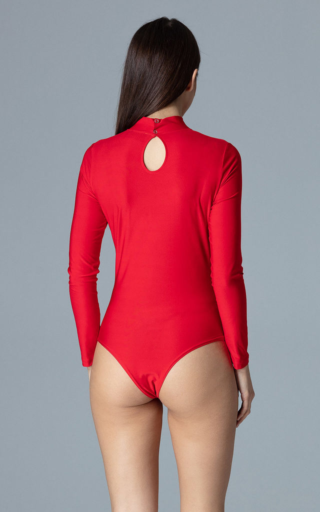 High Neck Bodysuit with Cut Out in Red by FIGL
