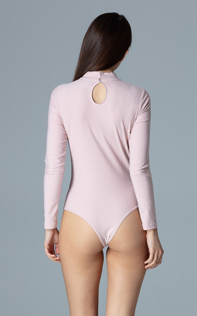 High Neck Bodysuit with Cut Out in Light Pink by FIGL