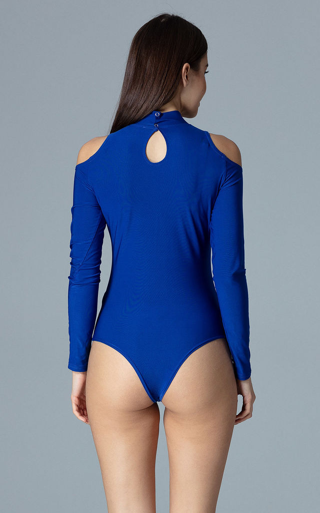 Bodysuit with cut-out detail in blue by FIGL