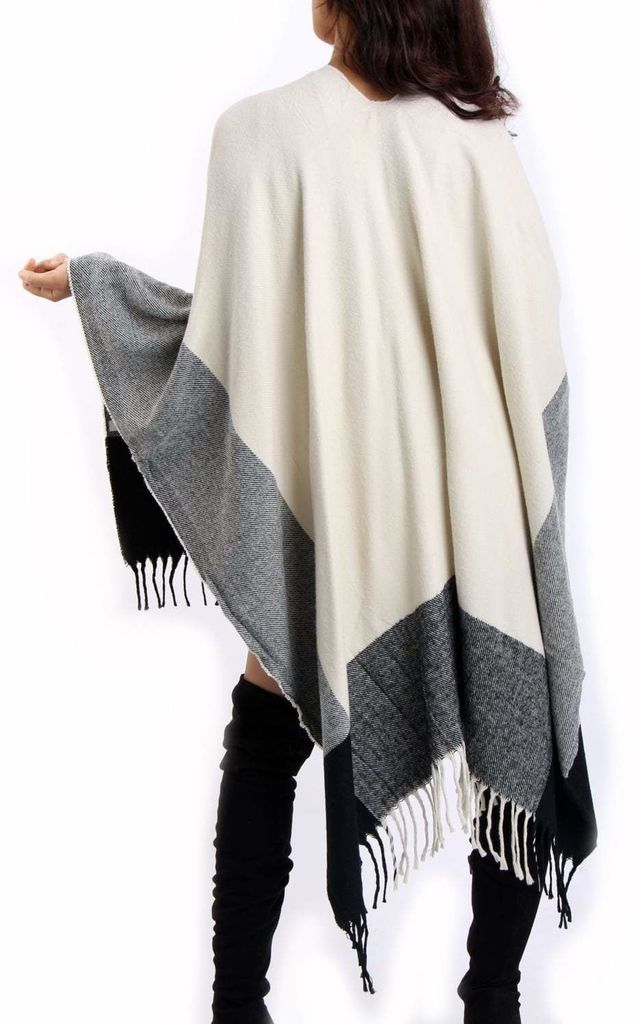 Beige Check Blanket Cape with Tassel by Urban Mist