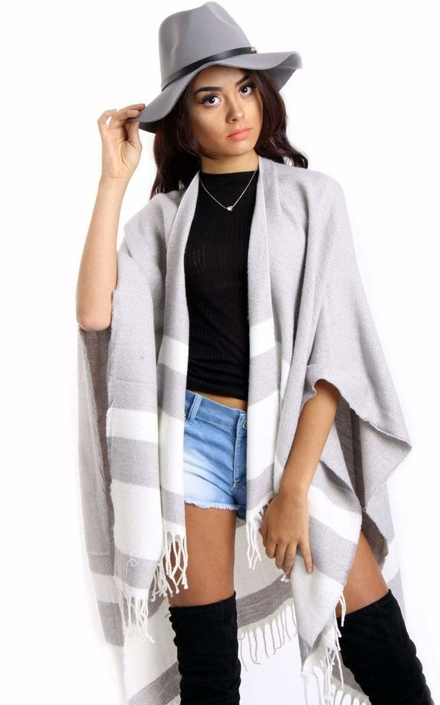 Pale Grey Striped Blanket Cape with Tassels by Urban Mist