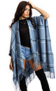 Powder Blue Check Blanket Cape with Tassels by Urban Mist