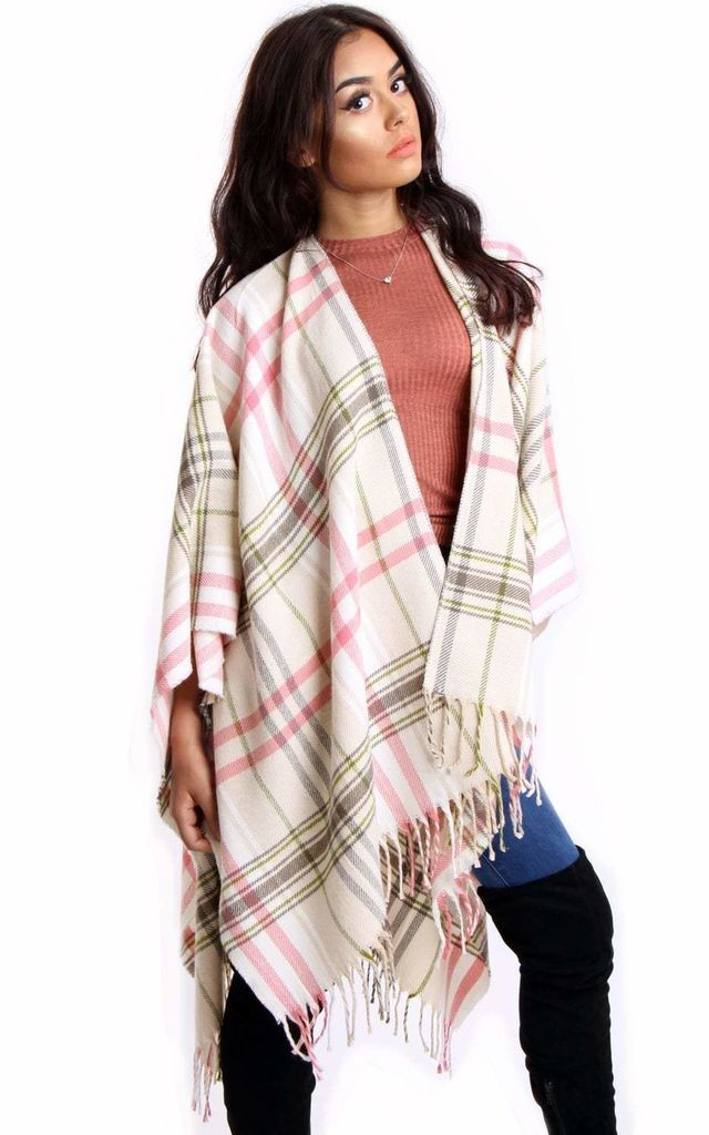 Pink & Beige Tartan Check Blanket Cape with Tassels by Urban Mist