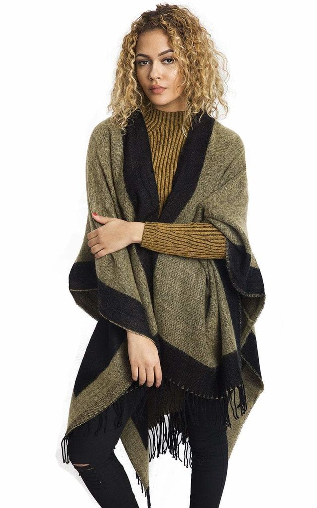 Gold Border Block Blanket Cape with Fringe by Urban Mist